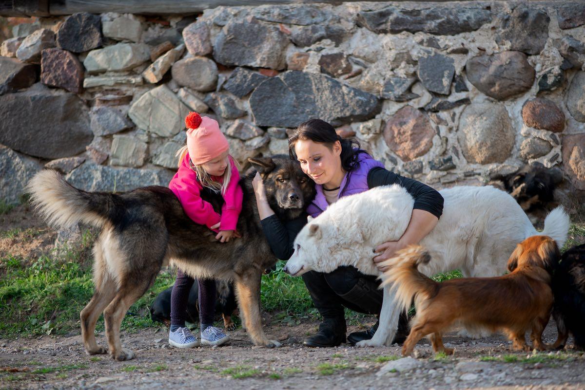Mujer y niña abrazando y despidiéndose de sus perros